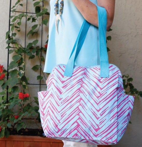 Twill do pink/turq high roller bag