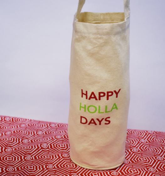 happy holla days canvas wine holder