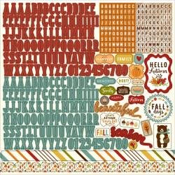 Fall Is In The Air Cardstock Stickers 12X12 Alpha