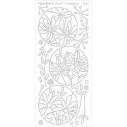 Elizabeth Crafts Peel-Off Stickers Silver-Flower Circle Frames