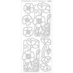 Flower Poppy Peel-Off Stickers Silver