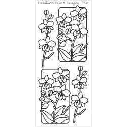 Elizabeth Craft Peel-Off Stickers Flowers In Frames, Silver