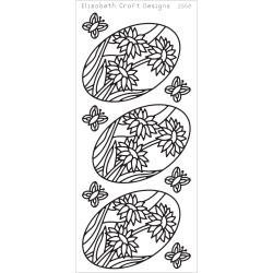 Daisies In Ovals Peel-Off Stickers Black