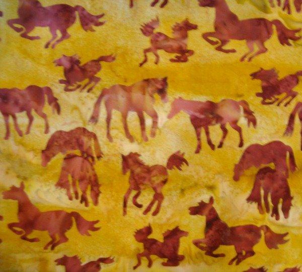 horses on gold batik