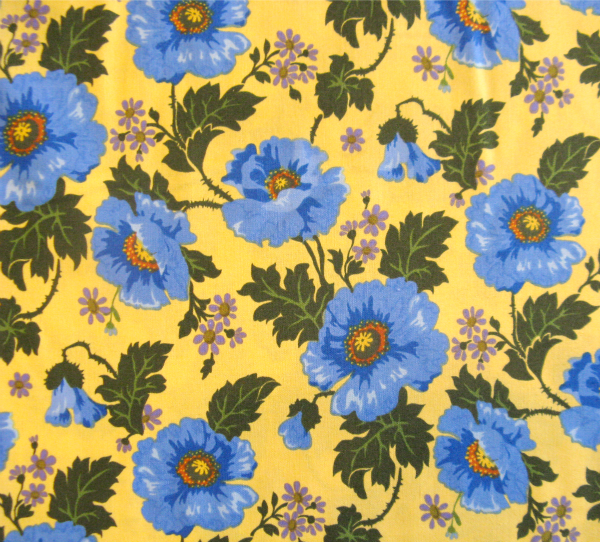 Blue poppies on yellow