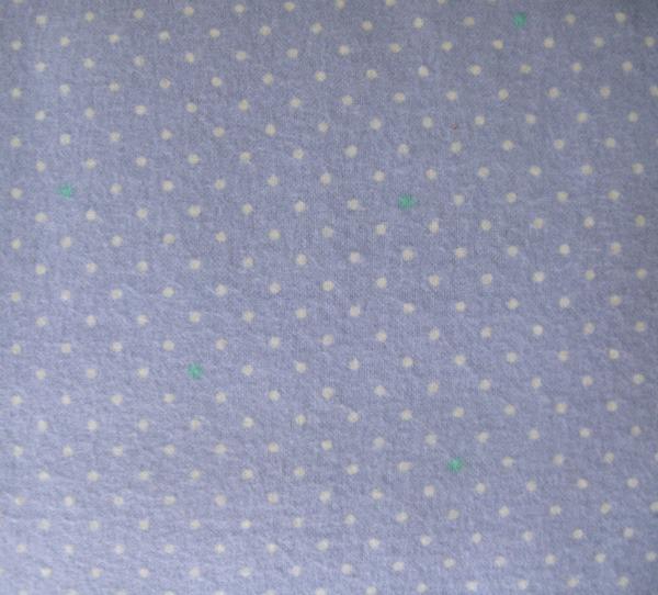 White pindot on blue/lavender flannel