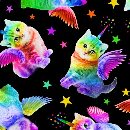 Rainbow Unicorn Cats black