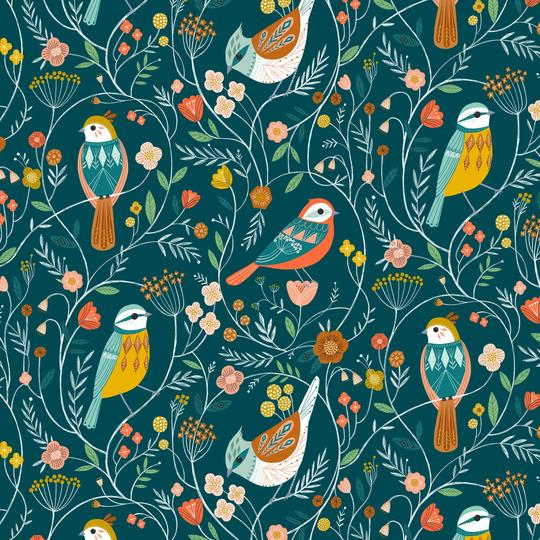 Aviary Birds and Vines teal