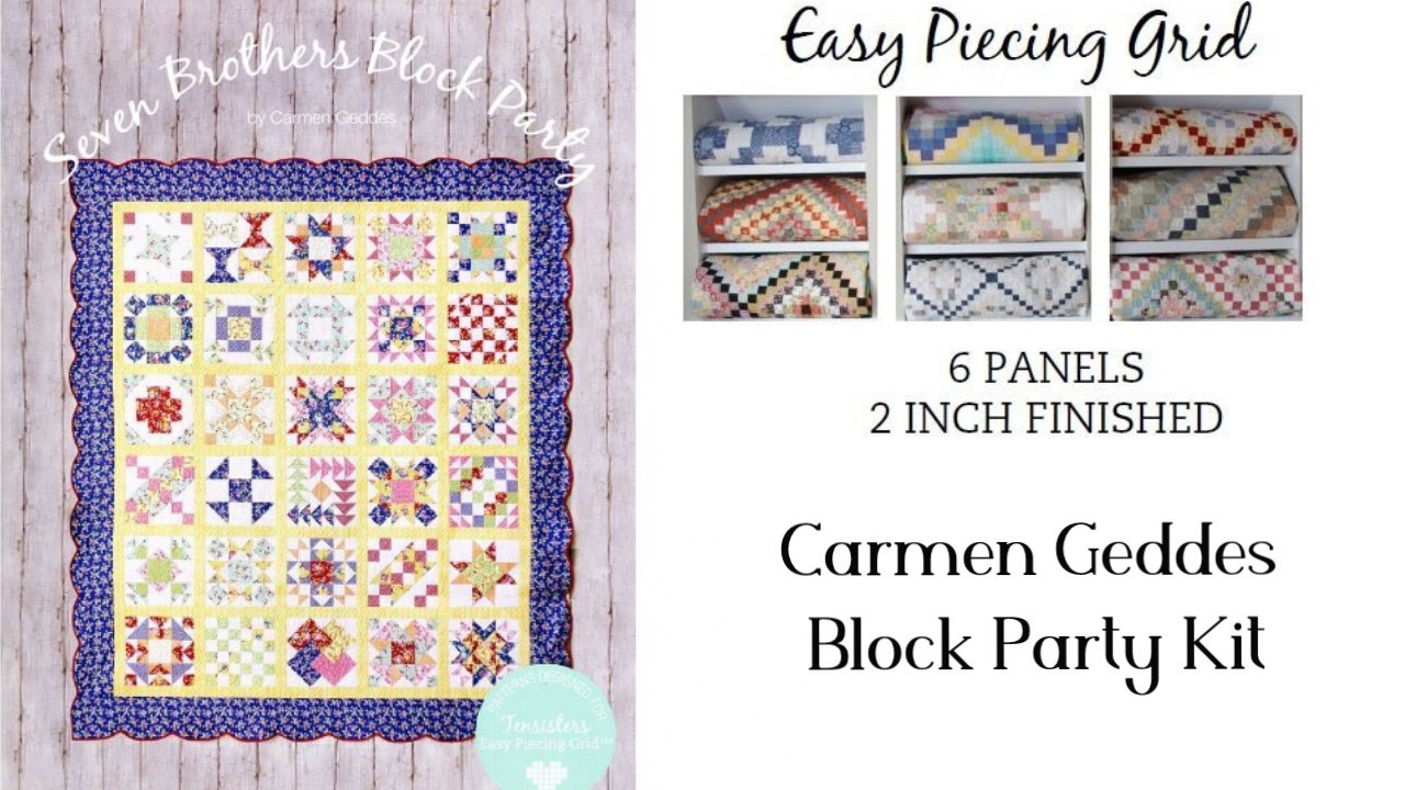 Block Party Kit/6 Panels Easy Piecing Grid + Pattern Book