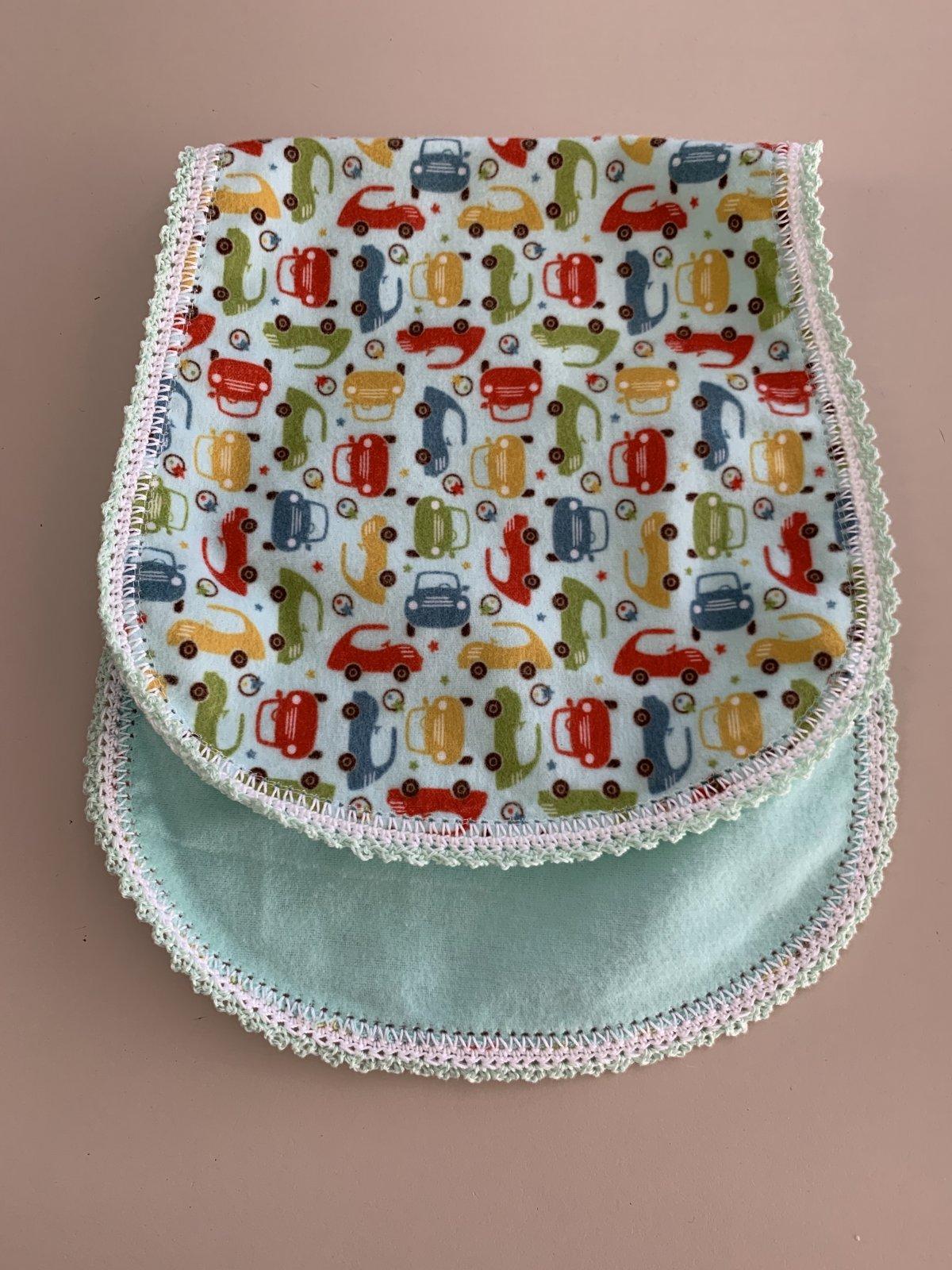 Crocheted Burp Cloth - Cars