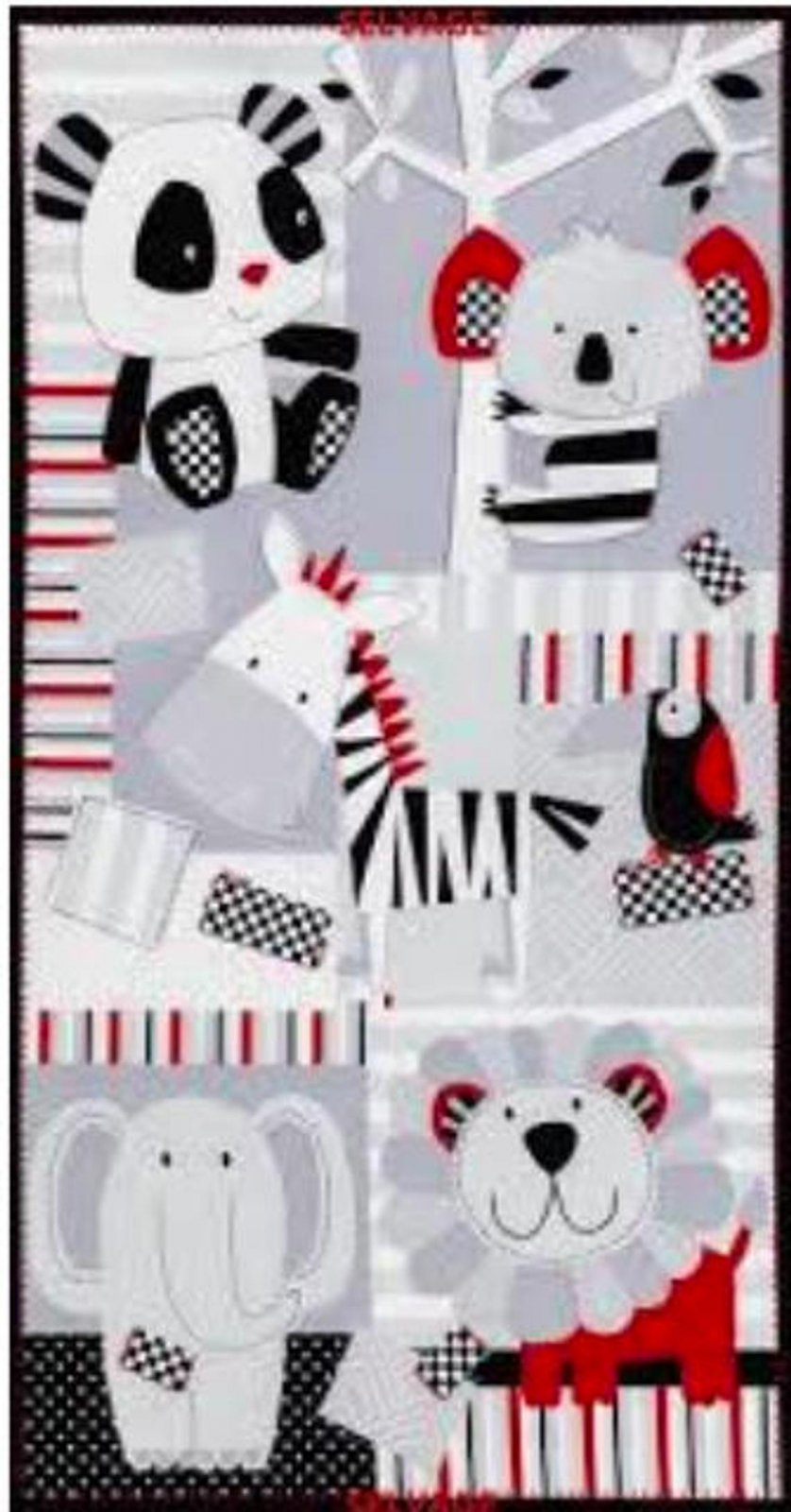 Blk/Gry/Red Kidz Zoo Animals Panel