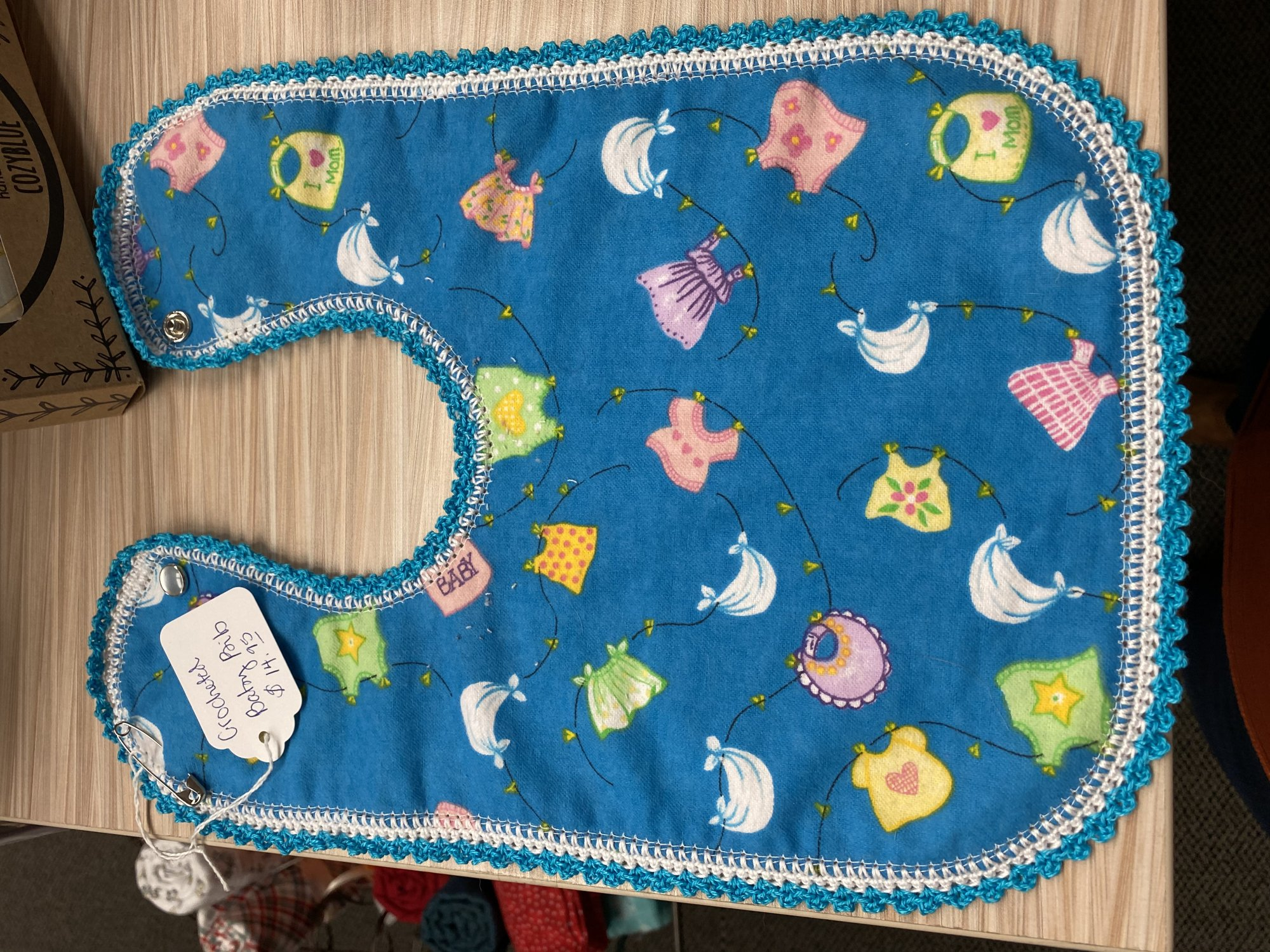 Crocheted Bib with Snap Closure - Baby Clothes on Laundry Line