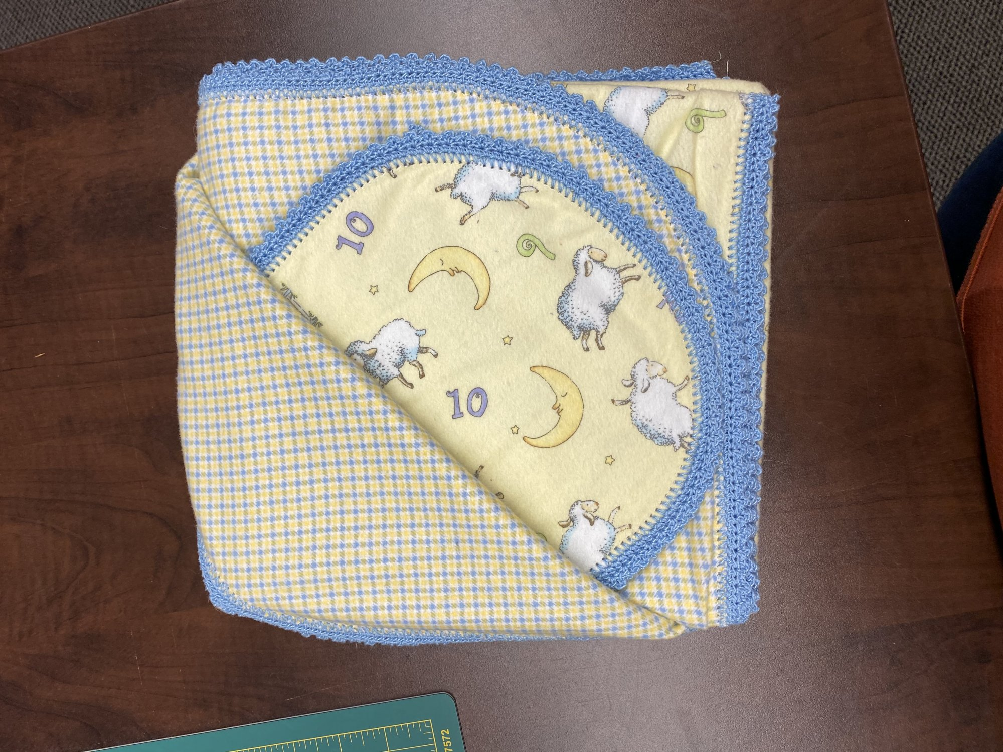 Crocheted Receiving Blanket w/ Burp Cloth - Counting Sheep