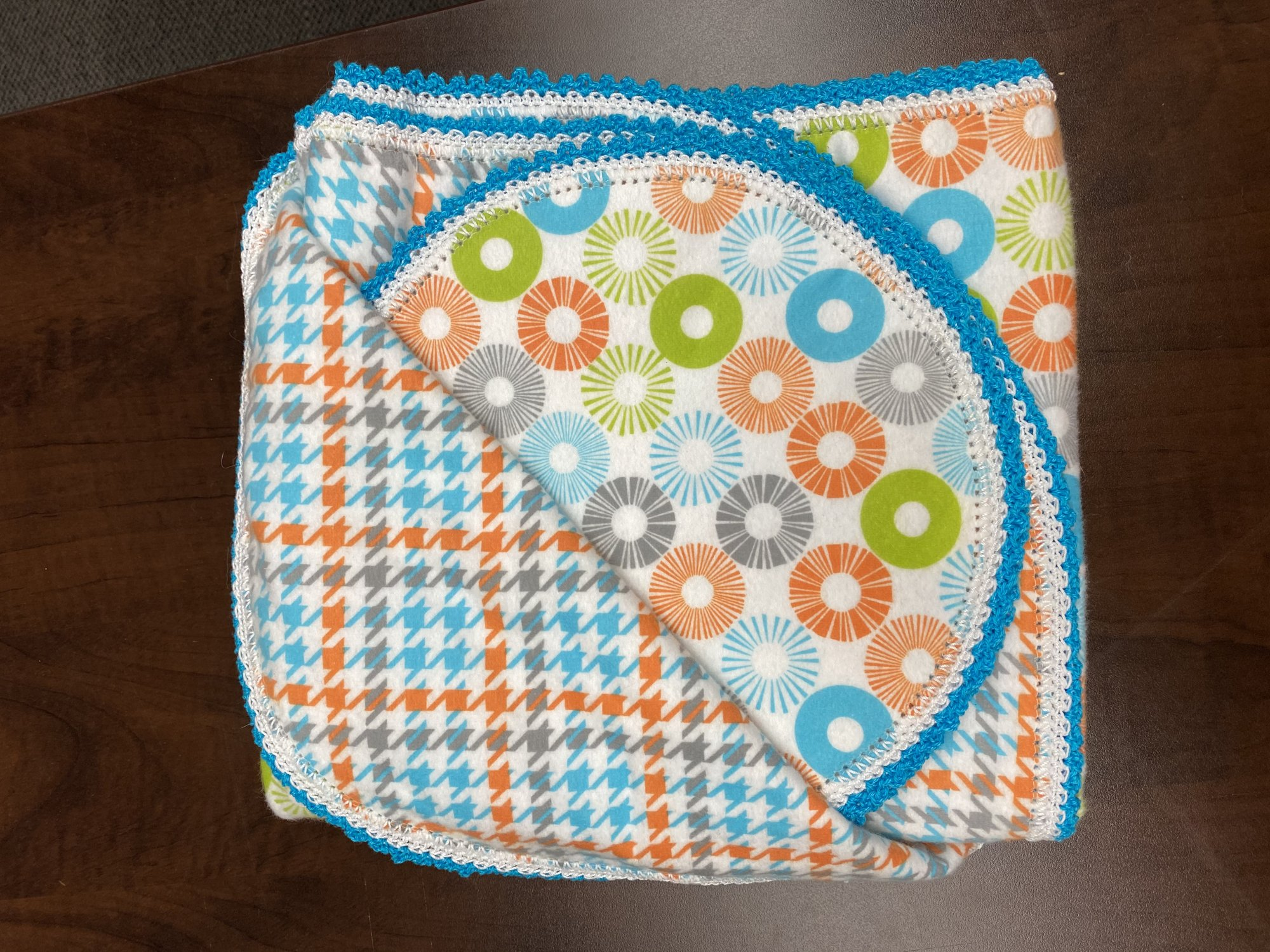 Crocheted Receiving Blanket w/ Burp Cloth - Orange, Blue, and Grey Spokes with Houndstooth