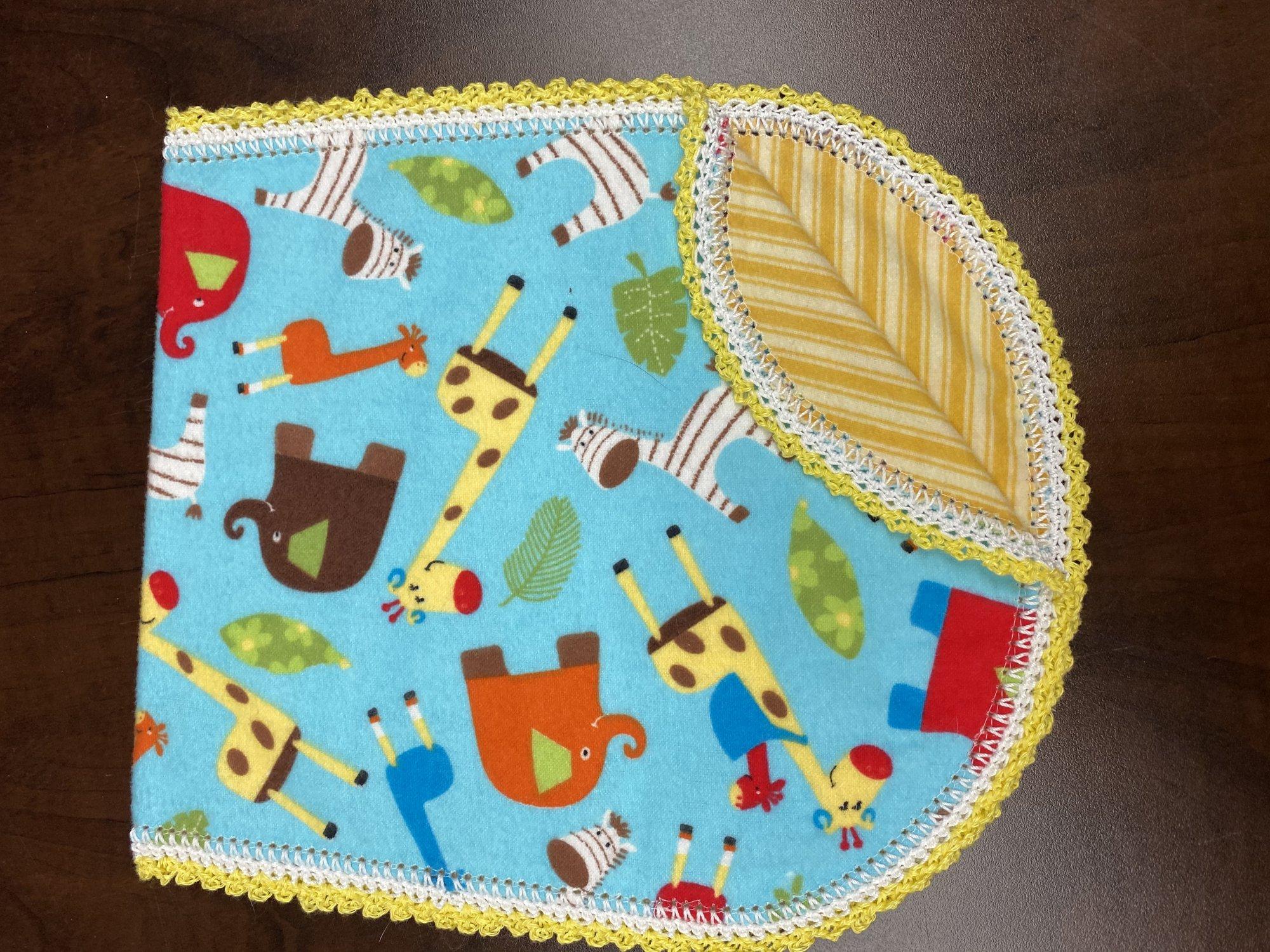Crocheted Burp Cloth - Zoo Animals