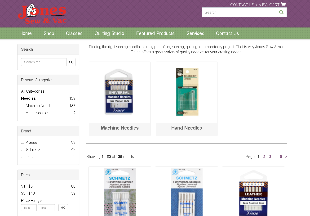 Jones Sew and Vac Boise Needle selection