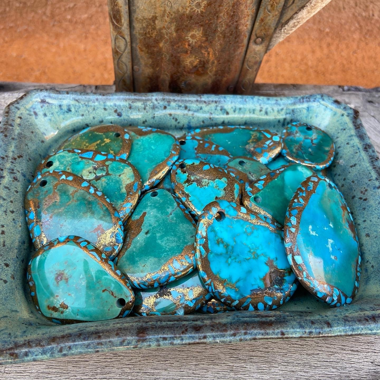 Turquoise Bronze Stardust Pendants