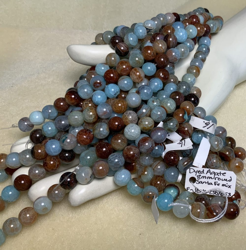 Agate Santa Fe Mix (dyed)8mm faceted Round