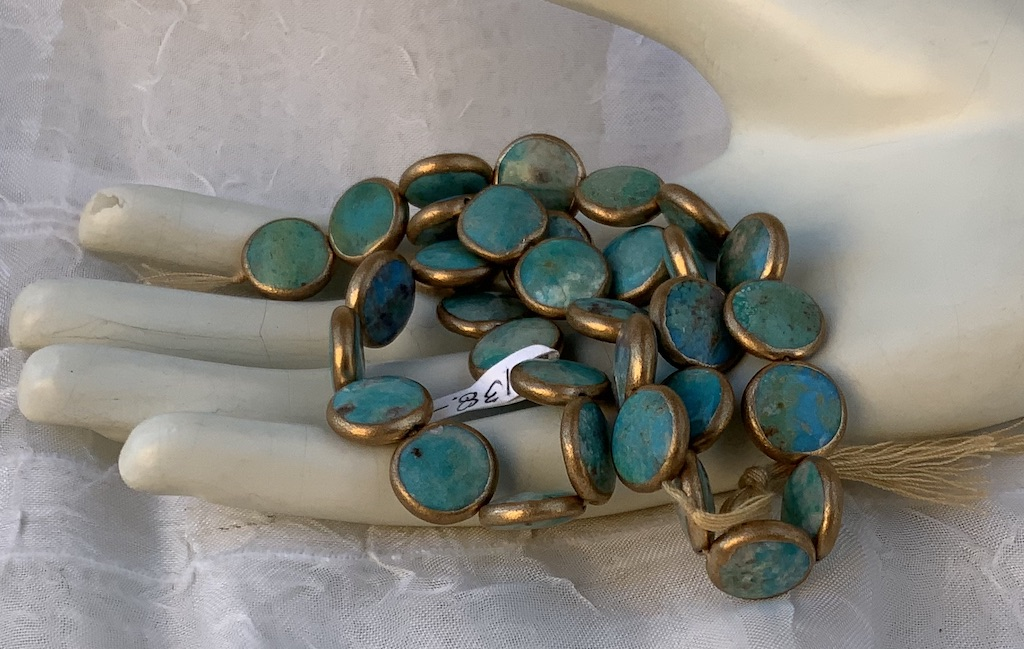 Turquoise - Gold Edged 12mm Coin