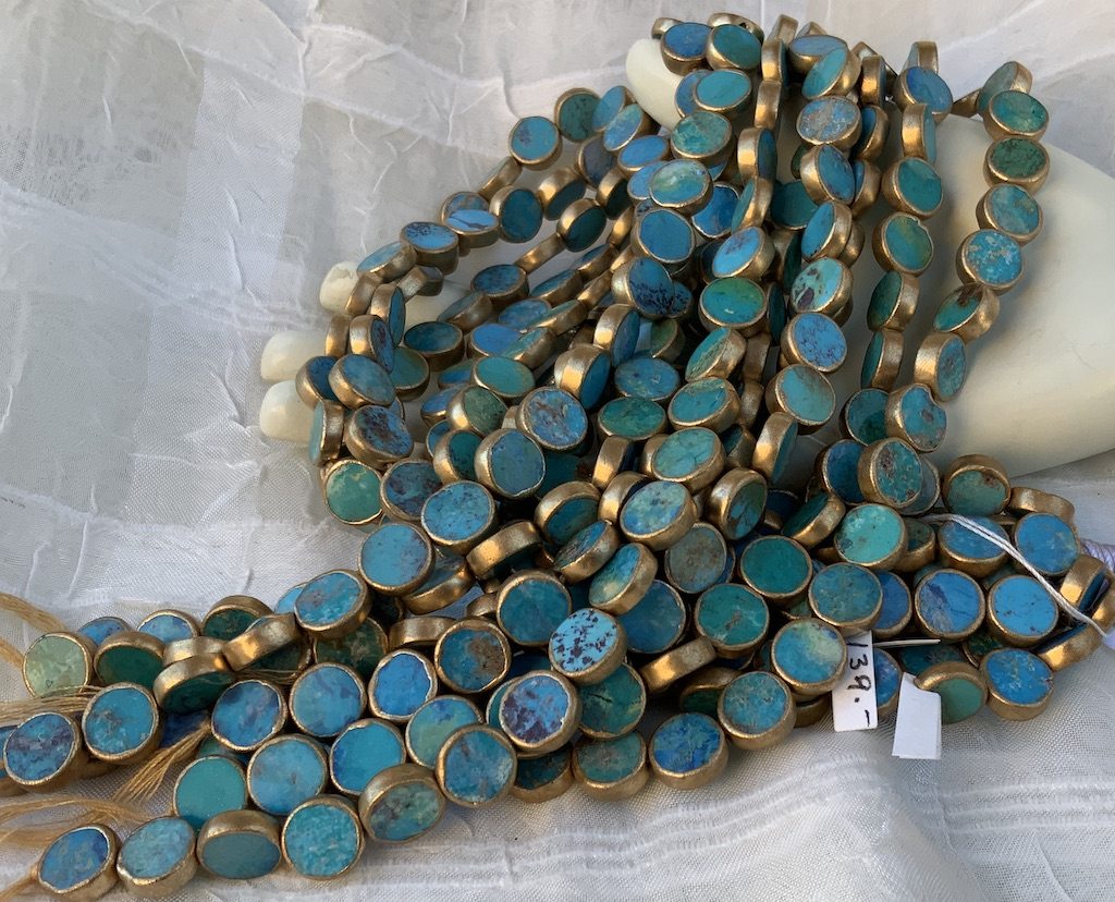Gold-Edged Turquoise 10mm Coin
