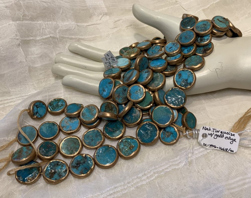 Gold-Edged Turquoise  12-15mm Coin (blue)
