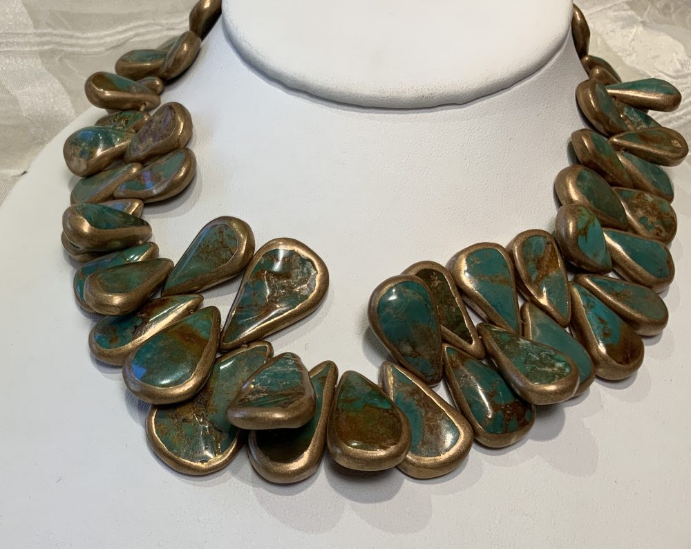 Gold-Edged Turquoise Graduated Teardrops A