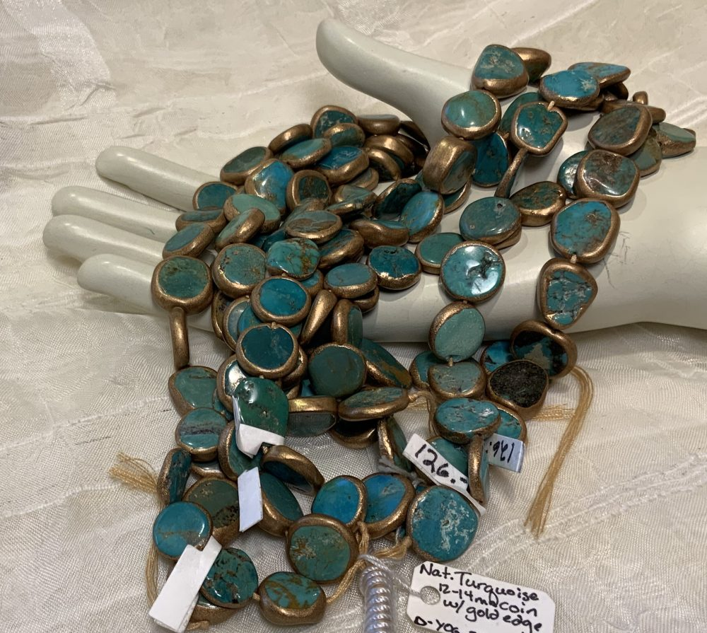 Gold-Edged Turquoise 12-14mm Coin