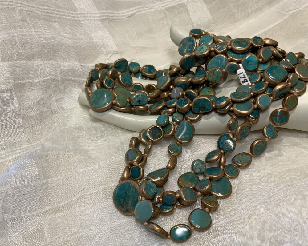 Gold-Edged Turquoise 36 Knotted Coin Necklace
