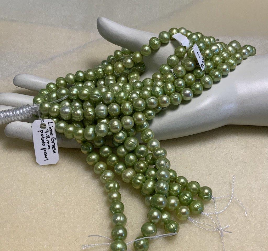 FW Pearls Lime Green 7-8mm Potato