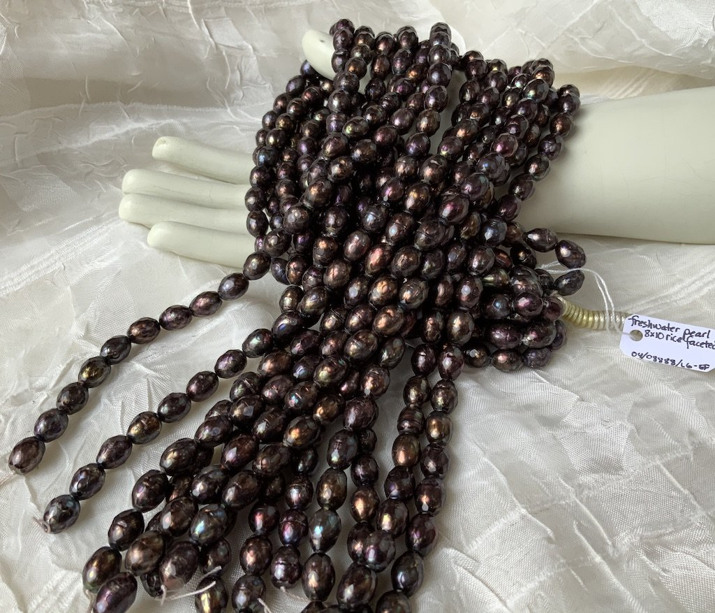 FW Pearl 8x10mm Rice Faceted Brown