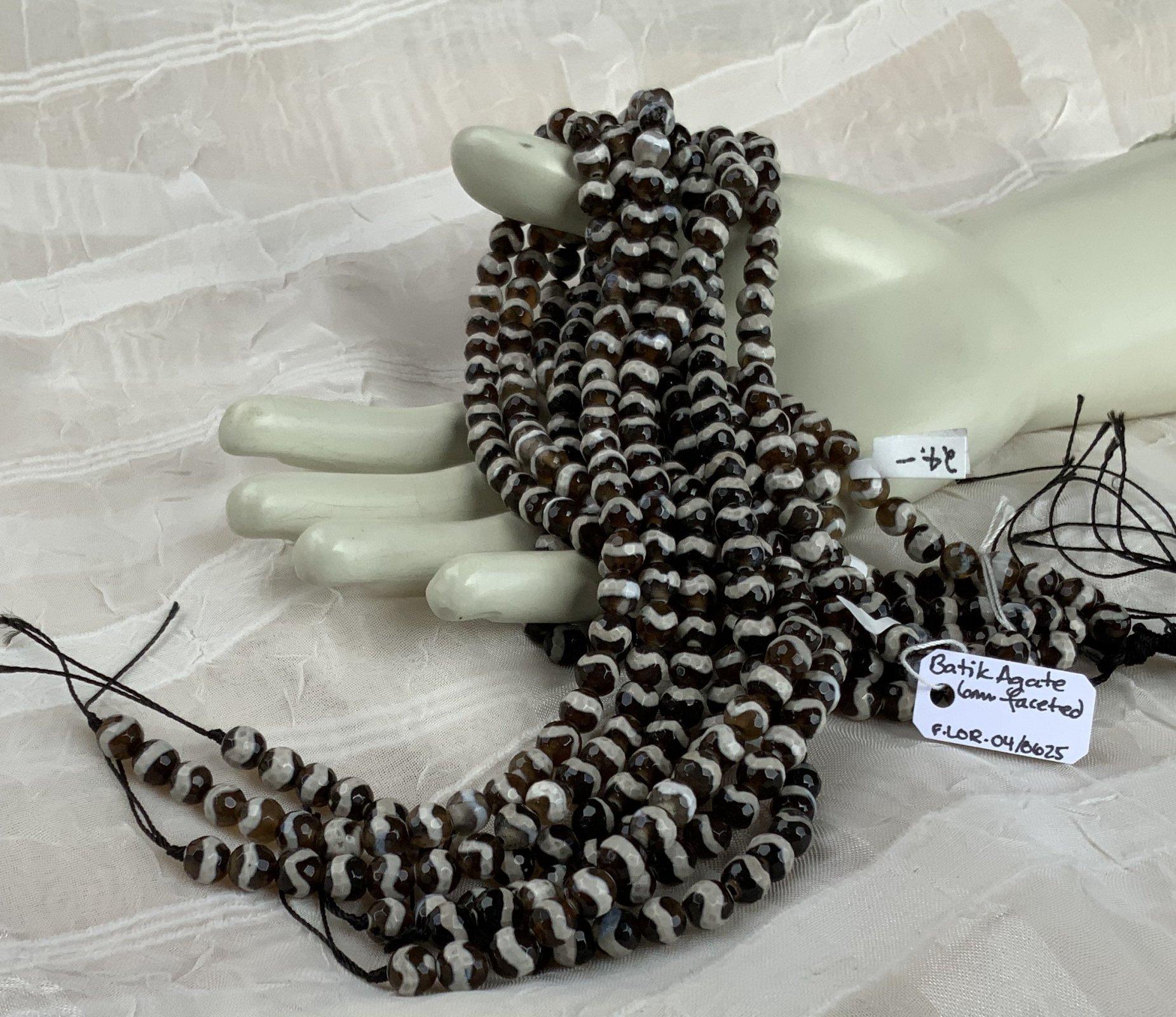 Batik Agate Brown 6mm Faceted Round