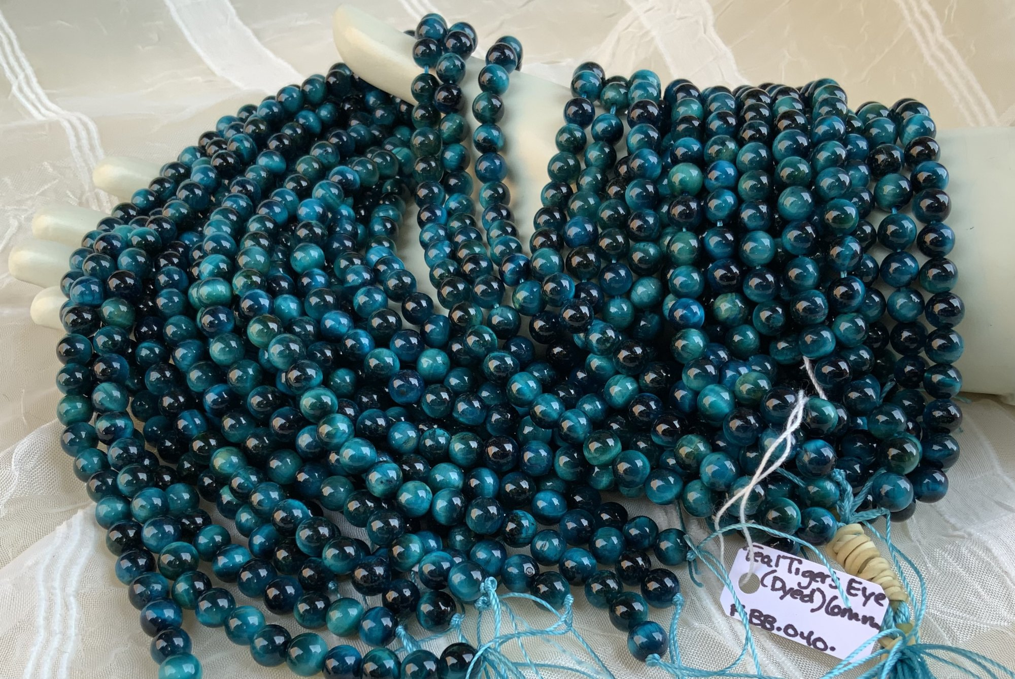 Tiger's Eye (Dyed) Teal 6mm Round