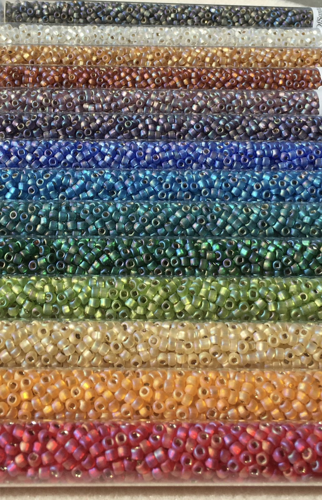 Rainbow Matte Silver-Lined AB Seed Bead Set