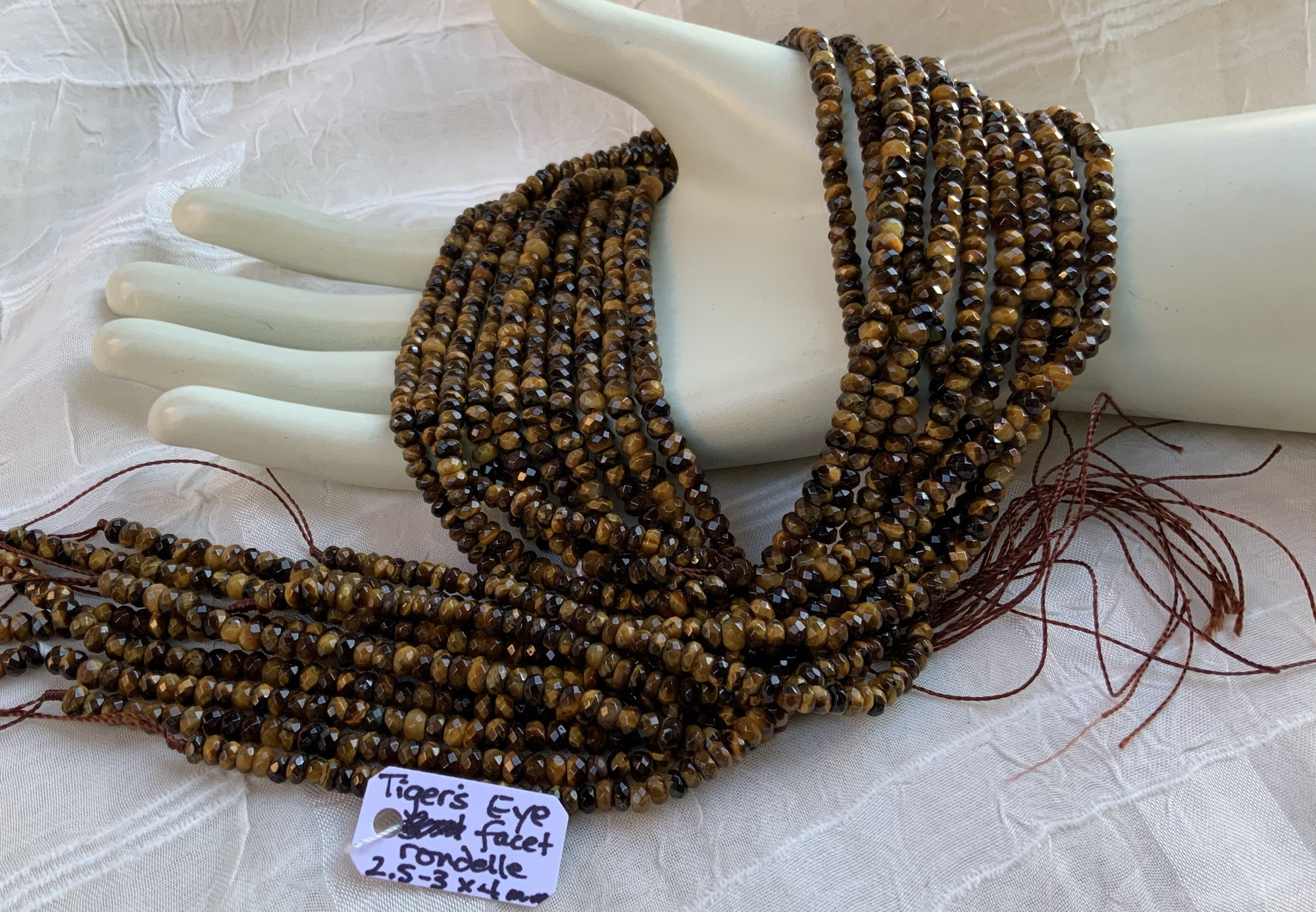 Tiger's Eye 2.5-3x4mm Faceted Rondel