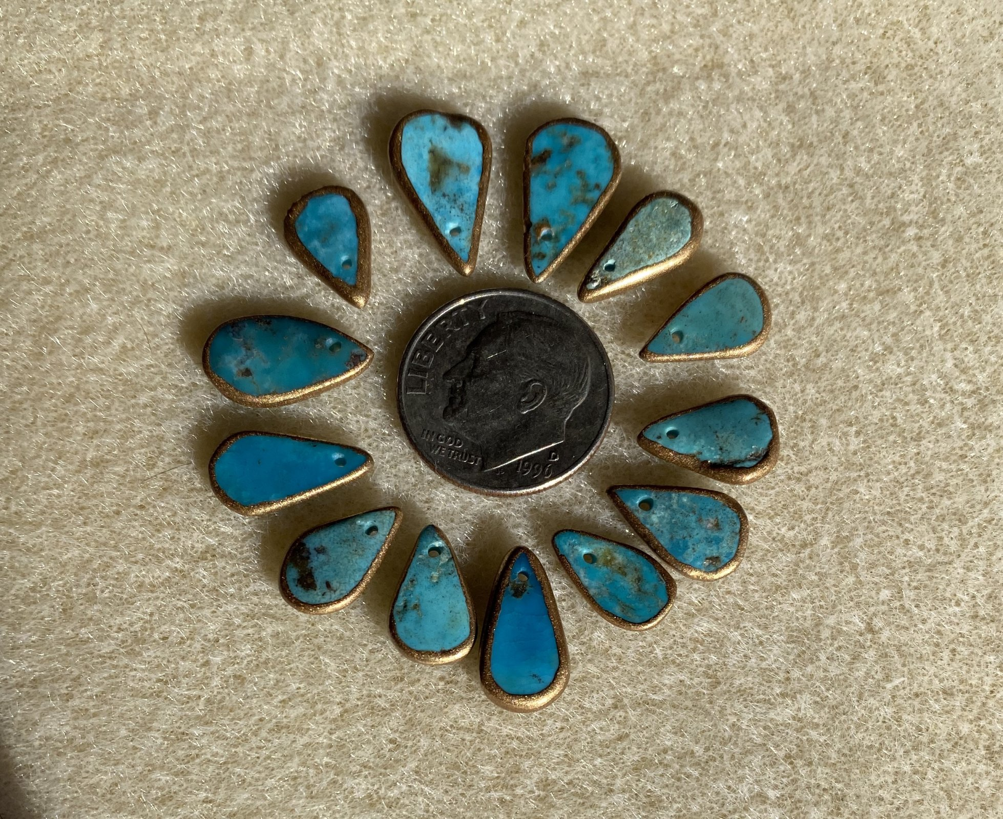 Gold-Edged Turquoise Drop -Front Drilled - 36pcs