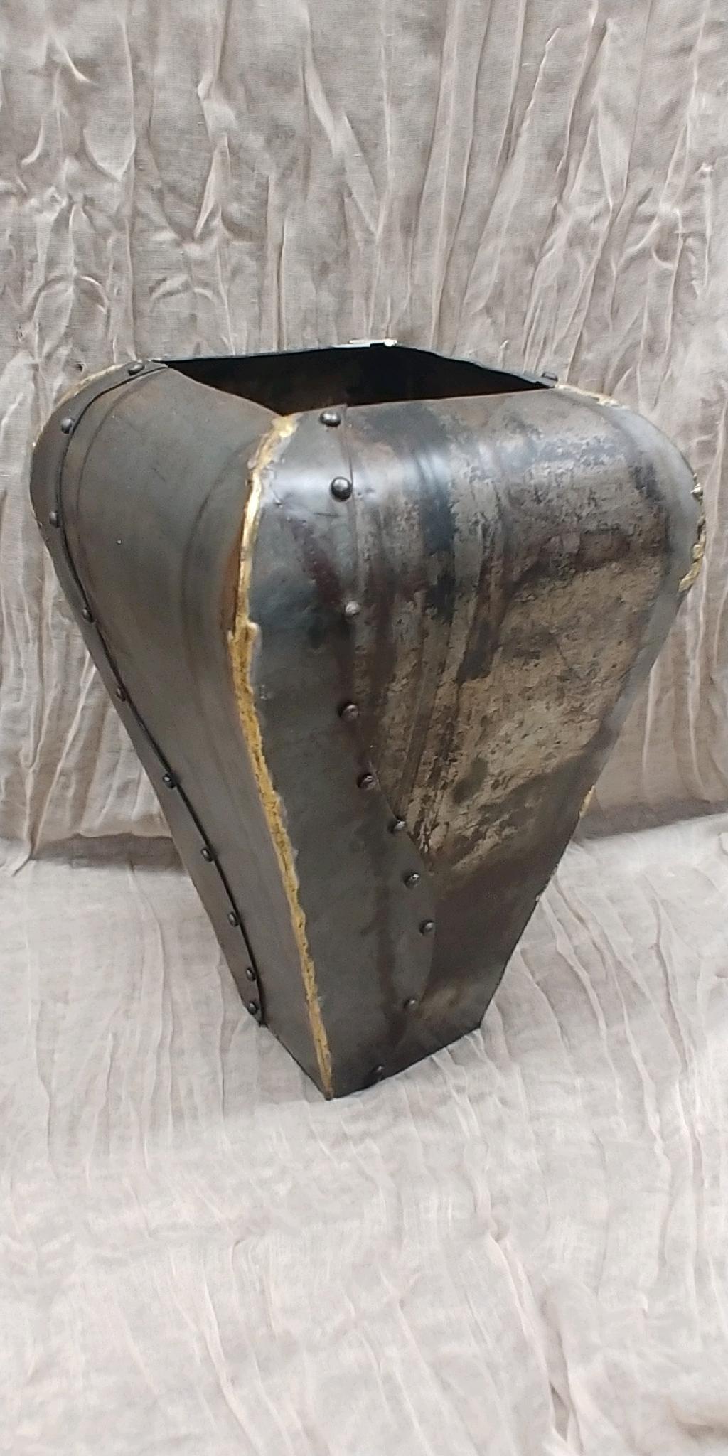 Square Metal Riveted Vase