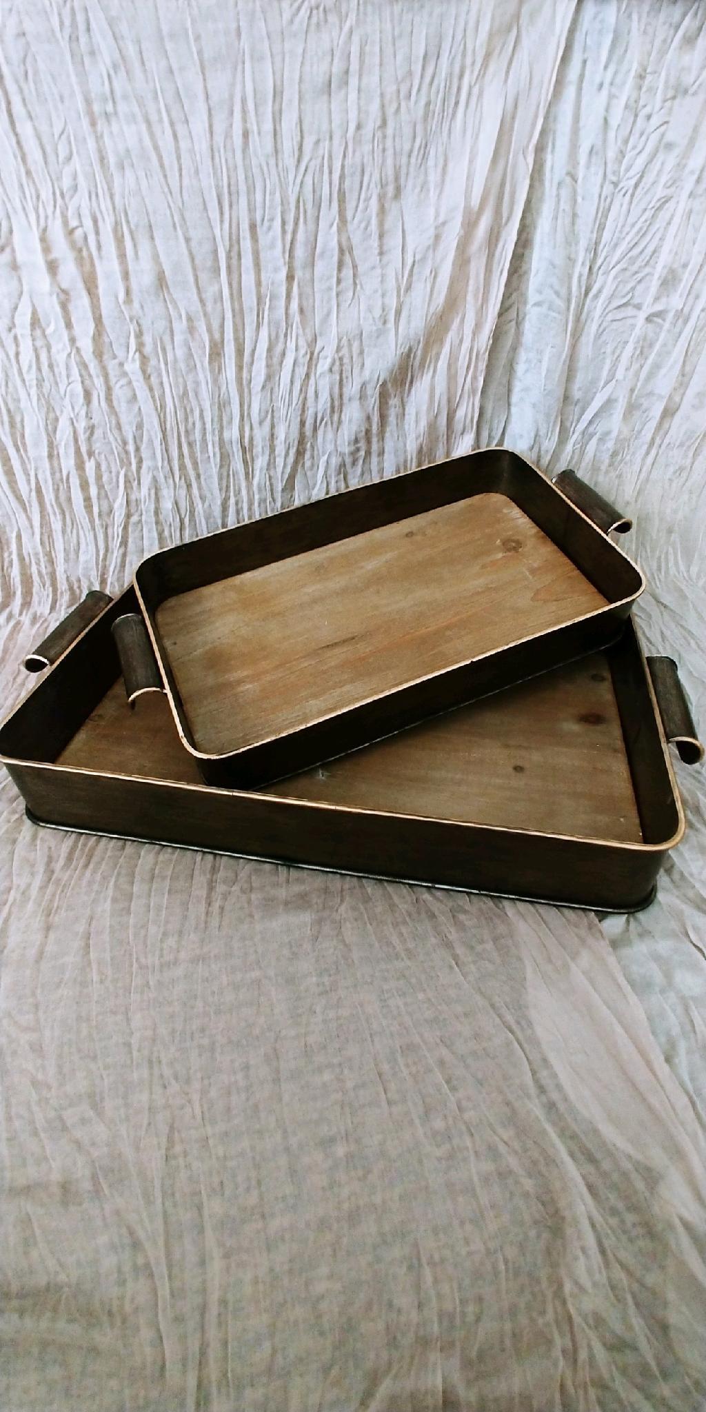 Bronze Wood & Metal Trays