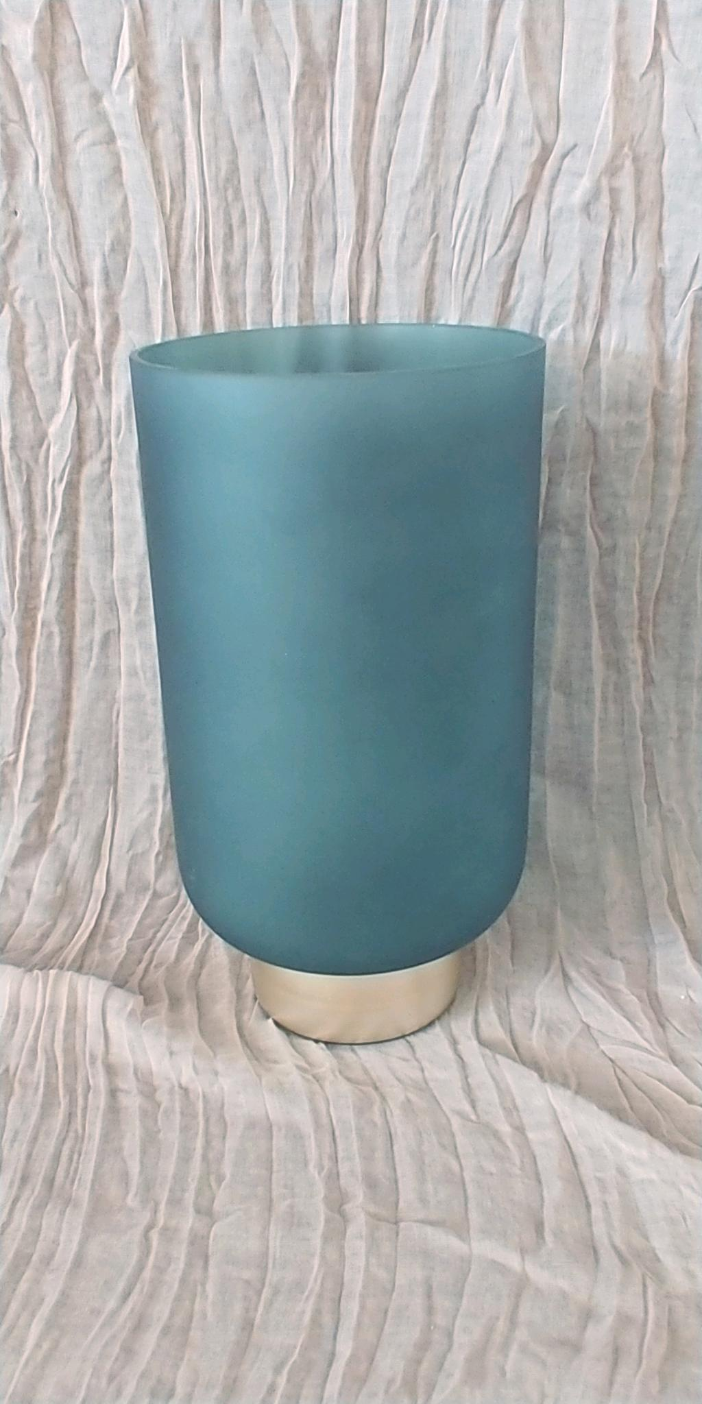 Teal & Gold Cylinder Vase