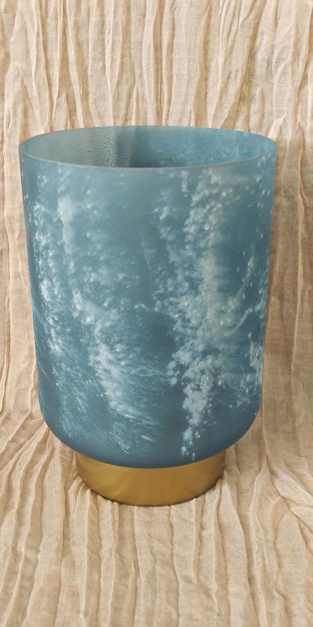 Frosted Navy Cylinder Vase