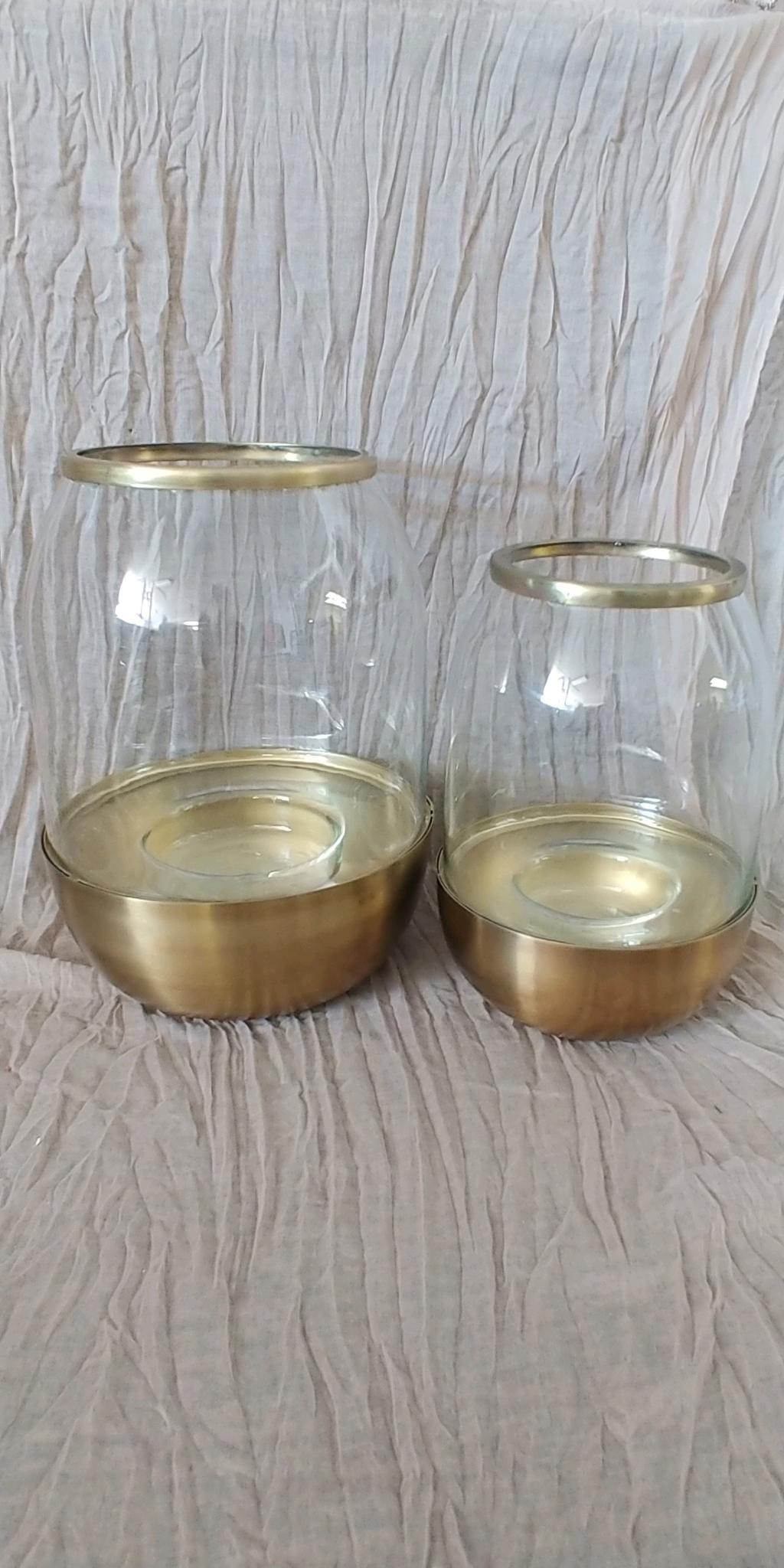 Glass & Gold Hurricane Holders
