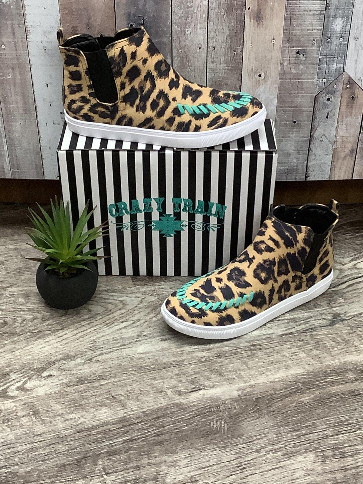 Leopard/Turquoise Sneaker