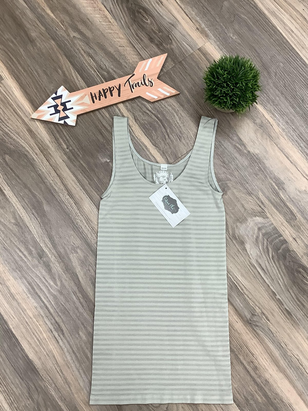 Light Gray Striped Fitted Tank