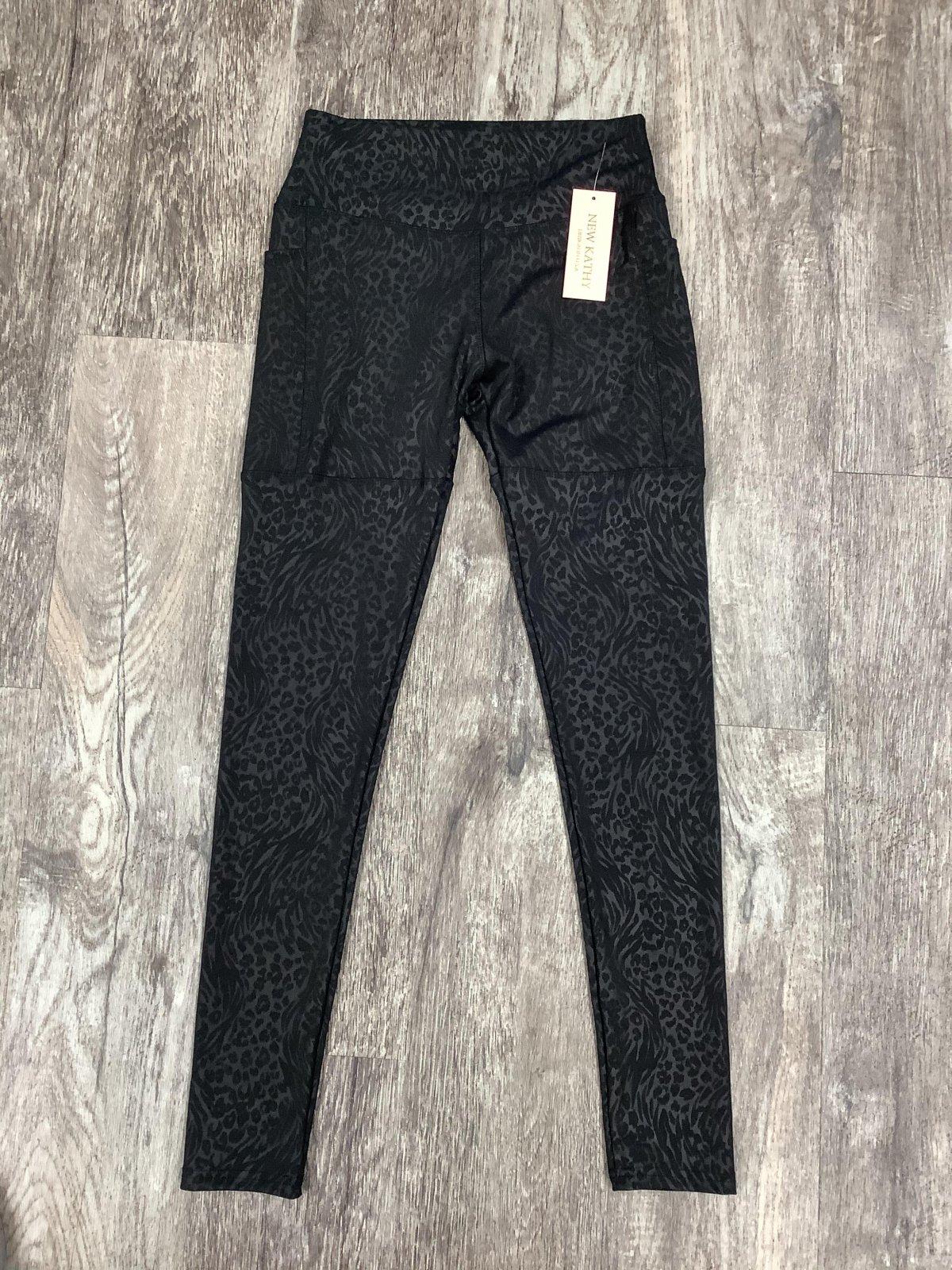 Black Leopard Print Side Pocket Athletic Legging