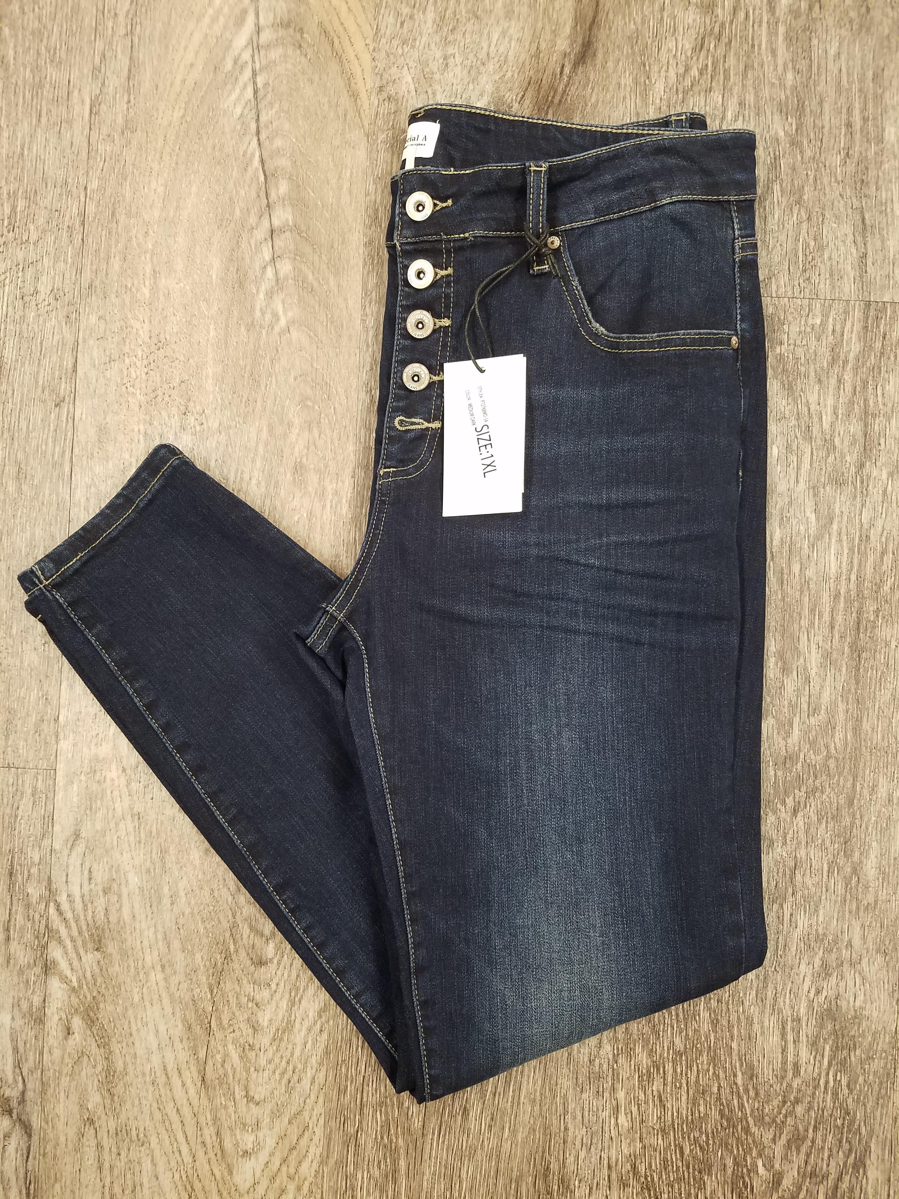 Button Fly Medium Dark Skinny Jeans *Curvy Approved*