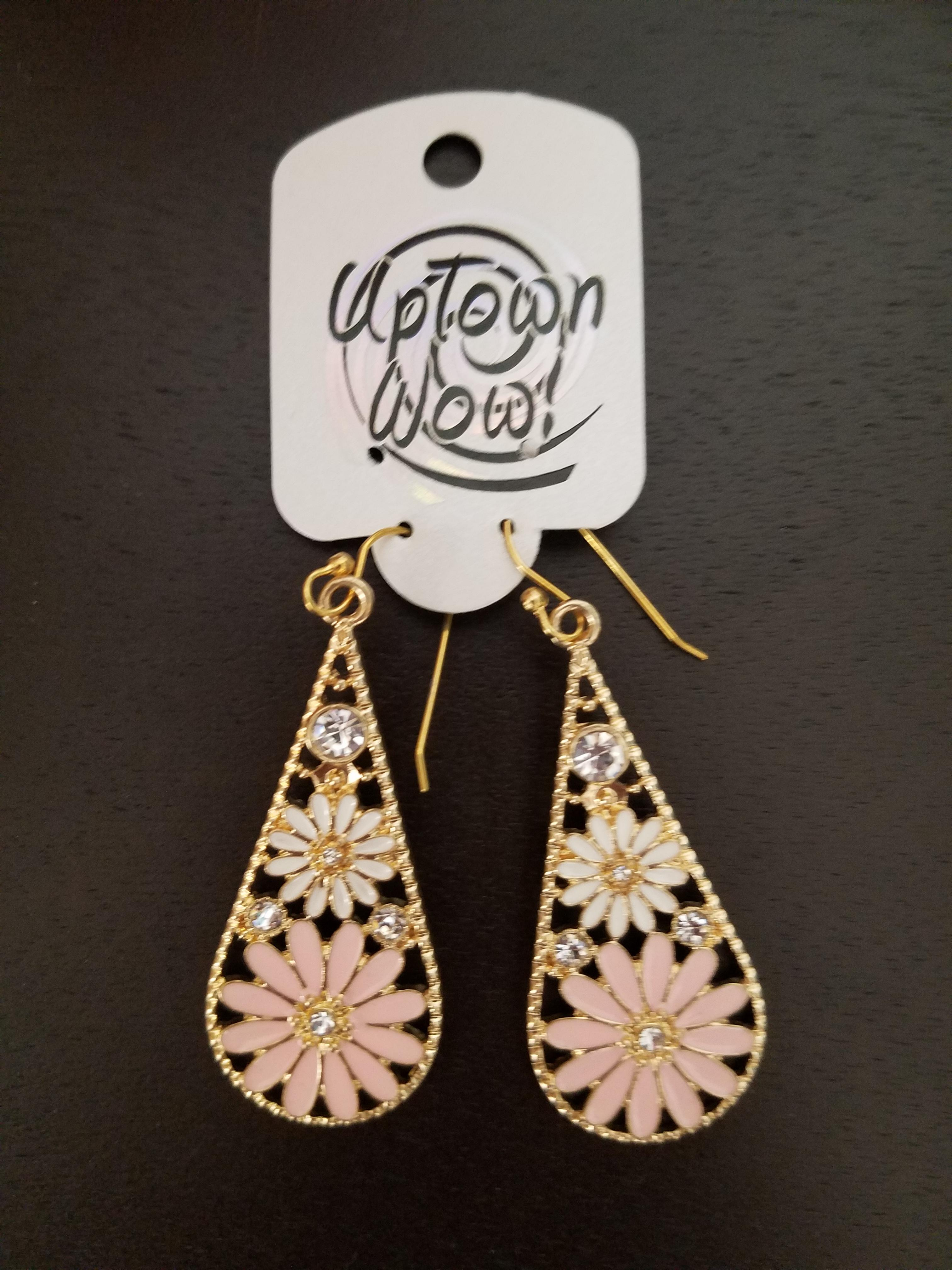 Gold with Flowers Dangling Earring