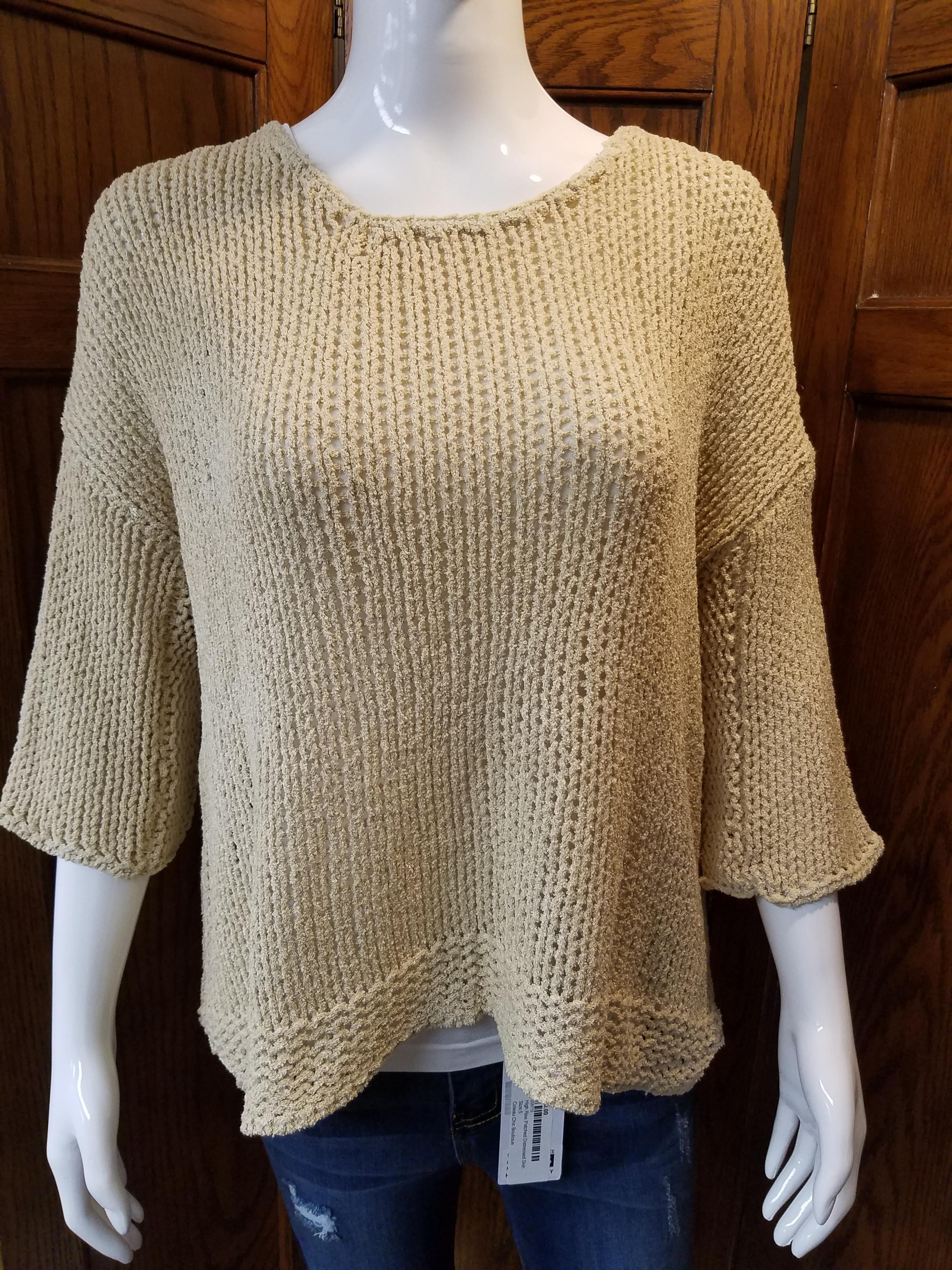 Beige Knit 3/4 Sleeve Sweater