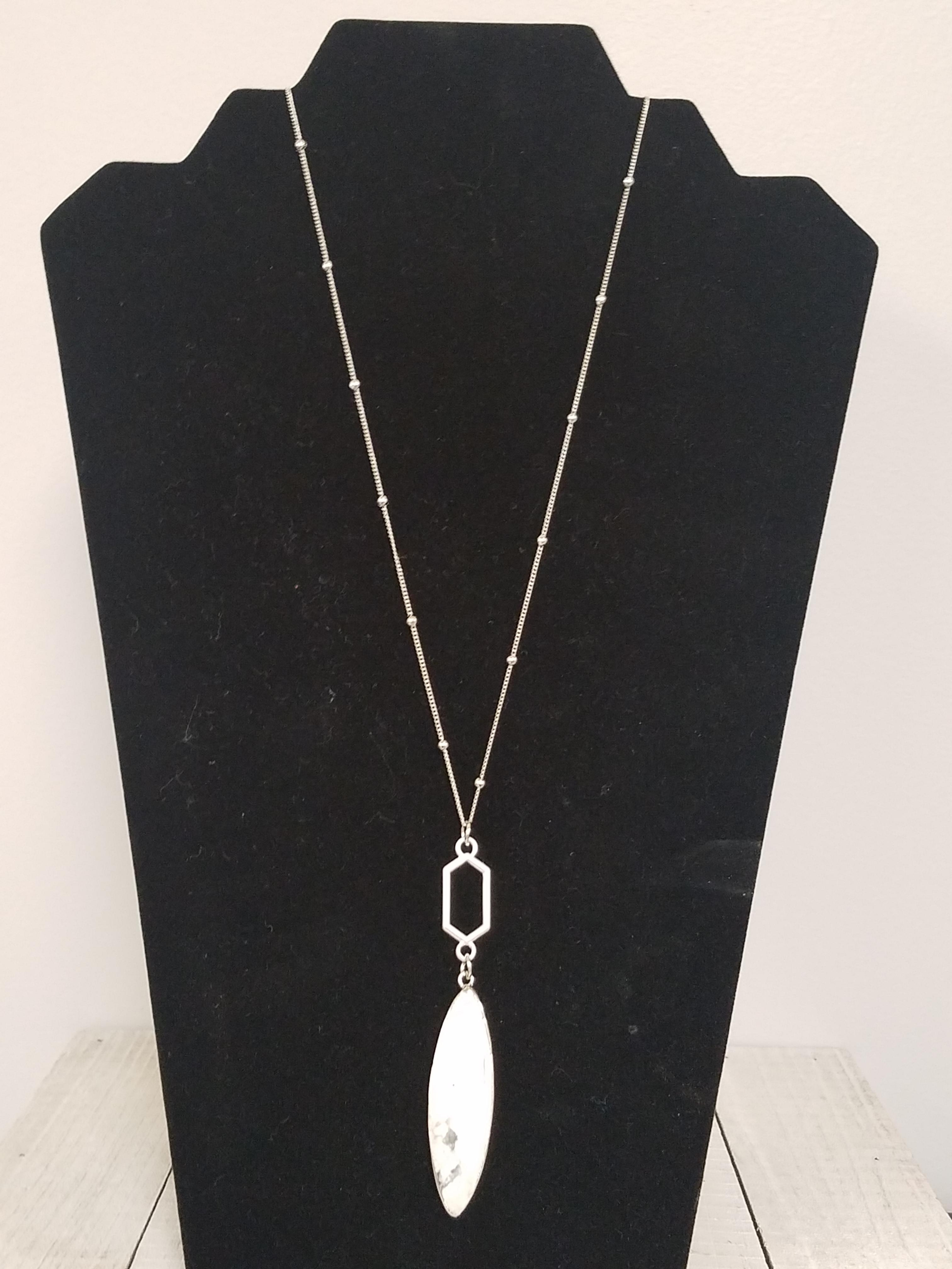 White Marble Pendent Necklace