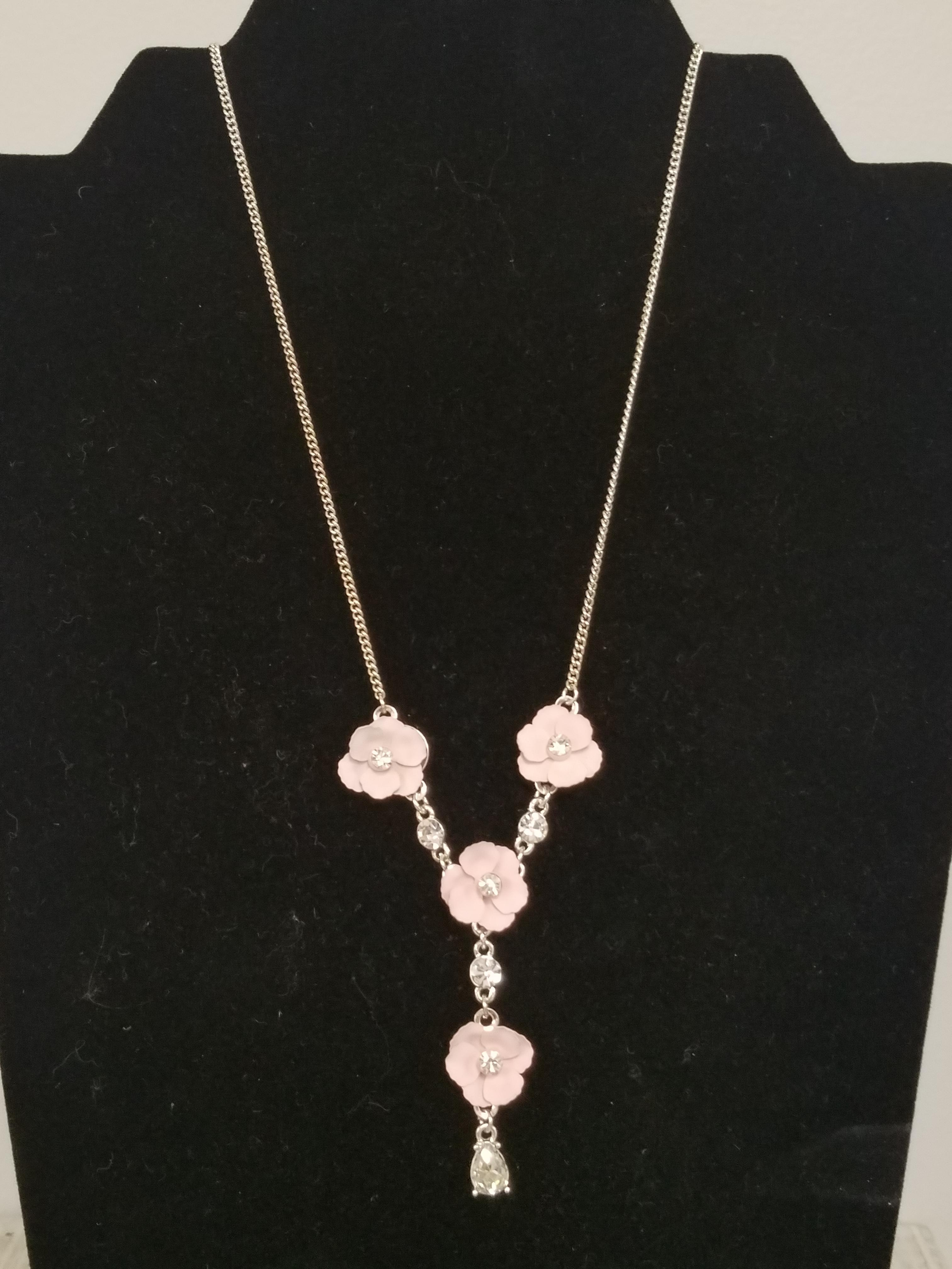 Silver & Pink Flower Necklace