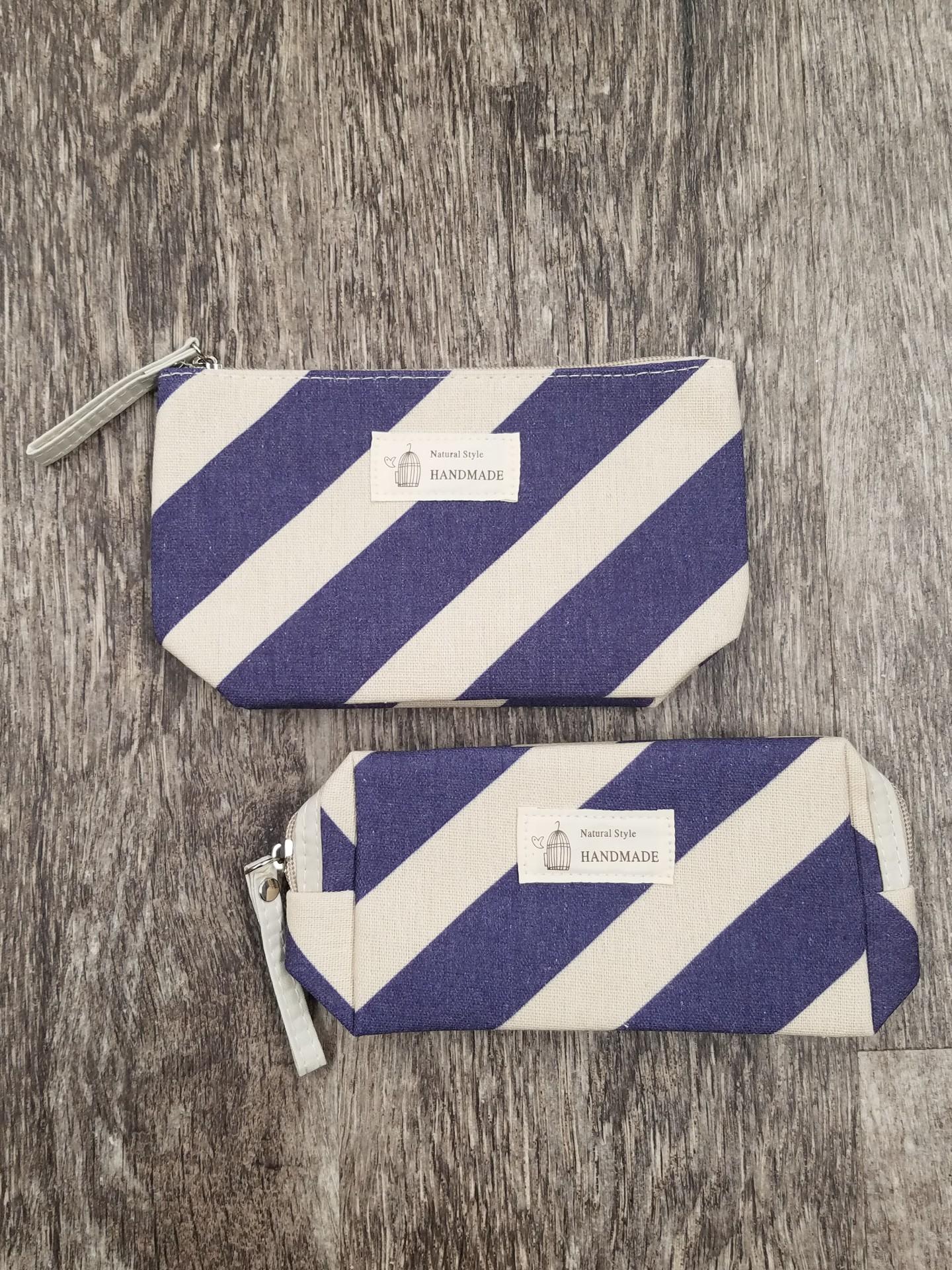 Blue Striped Makeup Case