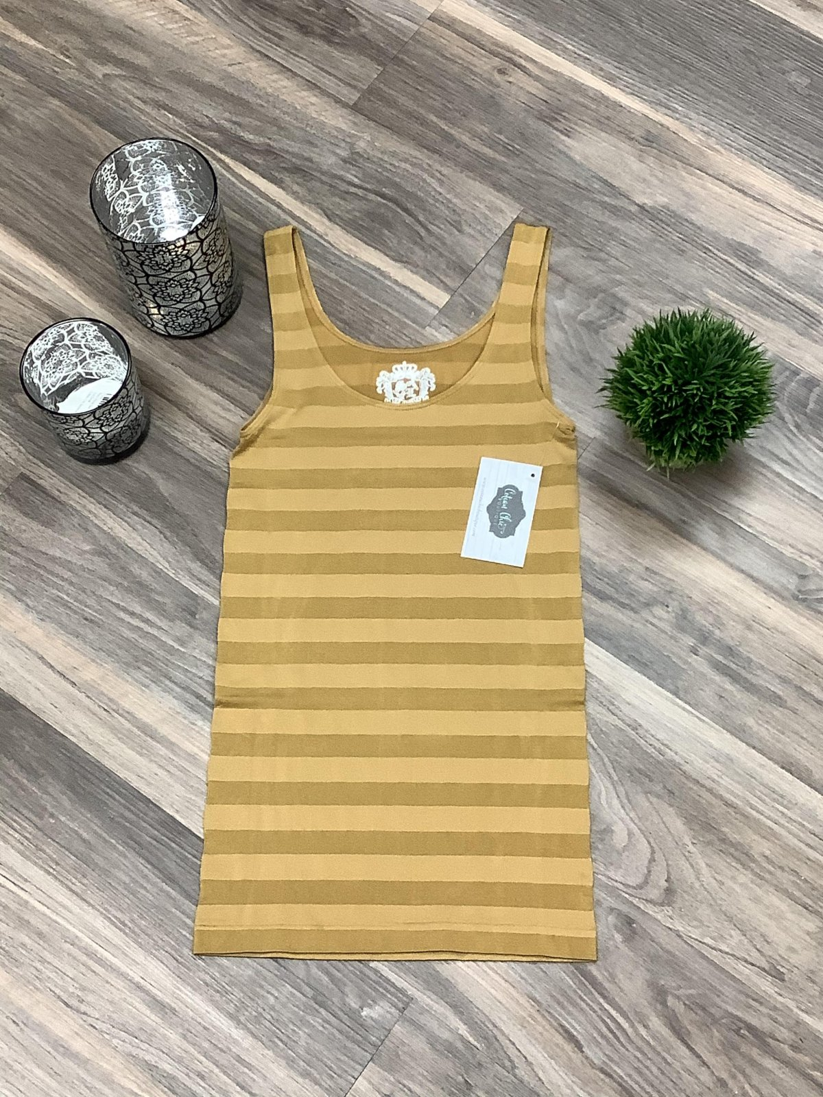 Gold Striped Tank*Curvy Approved*